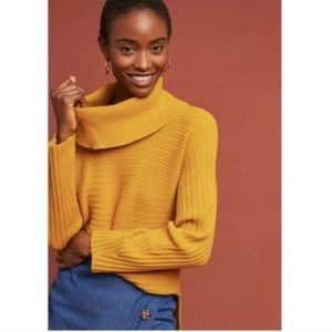 BOGO! Moth by Anthropologie Mustard Yellow Ribbed Cowlneck Sweater